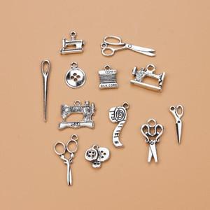 Bijoux bricolage couture Ciseaux Pendentif charme pour Bracelet Colliers Accessoires tibétain alliage d'argent Breloques mixte Femme Femme au foyer chaud 120 PCS