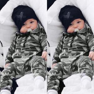 L'alta qualità dei capretti del bambino abiti firmati pagliaccetto a maniche lunghe con cappuccio Camouflage Stampa tuta 100% cotone pagliaccetti del bambino 0-2T
