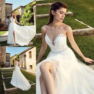2019 robes de mariée de plage boho une ligne pure cou haut dentelle avant fentes été pays jardin robes de mariée illusion retour vestito da sposa