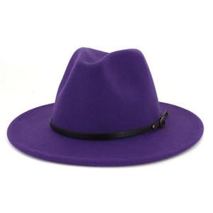 İngiliz Tarzı Bayan Caz Şapka Erkek Kadın Fedora Panama Şapka Hissettim Kemer Toka Dekor Geniş Brim Parti Örgün Şapka Büyük Boy