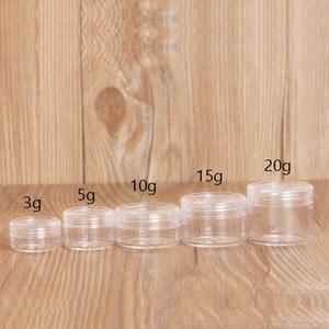 50pcs / lot clair crème cas pot plastique vide cosmétiques contenants 3g 5g 10g 2g 15g brillant à lèvres fard à paupières Maquillage Container Pots