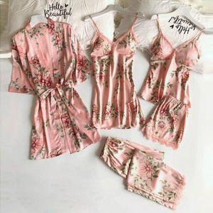 Mulheres Sleepwear Sexy Lingerie Pijamas para Mulheres Casa Roupas Nightie 5 pc Renda Satin Robe Roupão Calças Calções Set H4