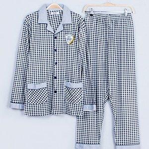 Hommes Pyjama Printemps Automne manches longues en coton à carreaux de nuit Casual Pyjama Men Lounge pyjamas Accueil Vêtements Plus Size 5XL