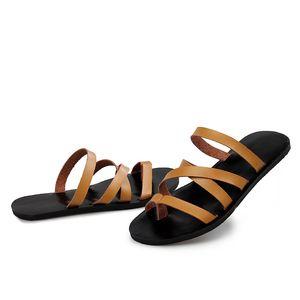 2019 여름 패션 남자 가죽 샌들 고품질 남자 로마 해변 신발 캐주얼 샌들 슬리퍼 남자 플러스 크기 36-46