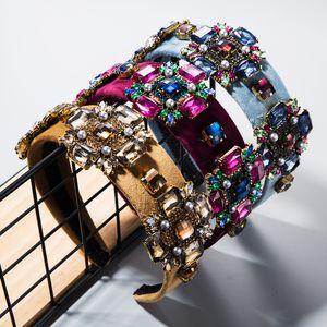Hair accessories Super Flash glass rhinestone flower gold velvet hair band widened Baroque headband
