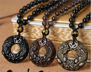 Natural Obsidian Peace Buckle Colgante Ice Rainbow Eyeliner Necklace Hombres
