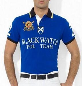 2020 новых людей вскользь Футболки Black Watch Polo Team Men тенниска хлопка с коротким рукавом Футболки Летняя дышащий Мужчины Гонки Polos Черный Белый