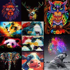 DIY Boyama Çerçeve Hayvanlar Renkli Baykuş Diy Boyama Rakamlarla Takımı Modern Duvar Sanatı Resim Akrilik Hediye için By Numbers Boya