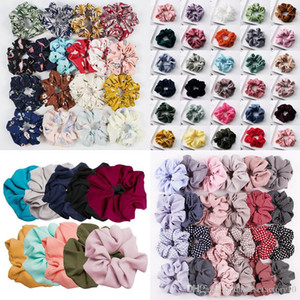 Floral Flamingo Scrunchie Ponytail Hair Holder Rope Solid Houndstooth Design Women Hair Tie Accesorios Scrunchy Basic Hair band