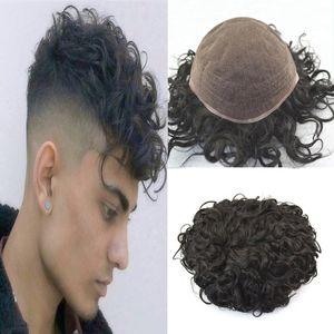Kıvırcık Dalga peruk İçin Erkekler Tüm Fransız Dantel İnsan Saç Erkekler peruk Değiştirme Sistemleri Remy saç 20mm Dalga Tam Dantel Erkek peruk postiş