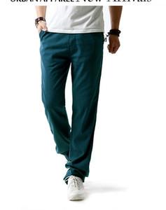 Calças Calças Moda Mens Calças respirável soltas de algodão e linho Mens Verão cor sólida cintura Sashes