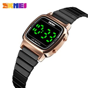 Fashion Ladies Watch Top Womens Watches Luxury Stainless Steel Strap Digital Wristwatch Waterproof LED Light Display Clock