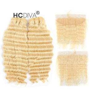 Malaysian Virgin Deep Wave 613 Blonde Bundle Hair with Lace Frontal 13*4 inch Deep Curl Honey Blonde Human Hair Extensions