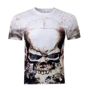 Esqueleto del cráneo 3D de 2018 nuevos hombres impresión de la manga corta camisa Střechy Tops