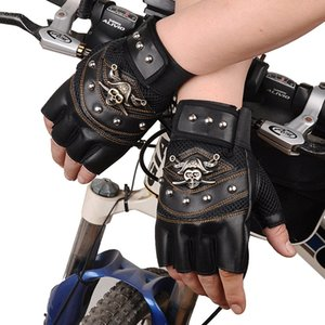 Cool Pirate Skull Rivet Punk Gloves PU Leather Cycling Gloves Half Finger Outdoor Sports Army Military Tactical Fight Gloves