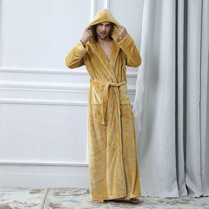 Herren Bademäntel Nachtwäsche Nachthemd Home Service Pyjamas Robes Frauen Bademantel Flanell Winter-Robe Männlich Hooded Thick Pyjamas