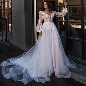 2020 Boho Wedding Dresses Puff Long Sleeves A Line Lace Appliques Floor Length Bridal Gowns Custom Made Princess Wedding Robe