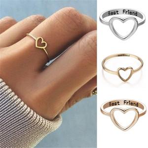 Meilleur ami Heart Bague Argent Gold Engrave Lettres Amitié Love Anneau Fashion Bijoux pour Femmes Sœurs Cadeau Drop Expédition