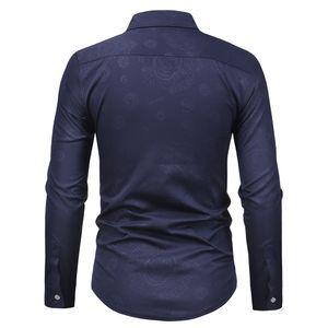 Jaycosin shirt fashion men's shirt new boutique men's casual retro skull head dark print long-sleeved shirt 2019