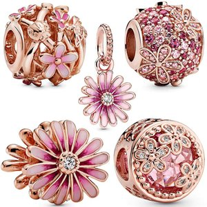 New rose gold pink daisy charm fit Pandora bracelet zircon beads 925 sterling silver woman luxury jewelry pendant gift making