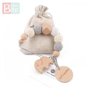 1PC tettarella catena Elephant clip di legno geometriche Beads Crochet Bag Legno Teether piccole clip Rod Manichino Holder tettarella