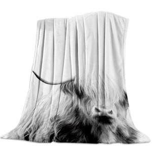 Nero Bianco Cut Bestiame Ritratti panno morbido della flanella letto manto Copriletto Coverlet Bed Soft Cover coperte calde