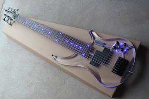 Custom Limited Edition Rosewood Fretboard Acrylic Glass body 7 Strings Bass Guitar with Black Hardware free shipping