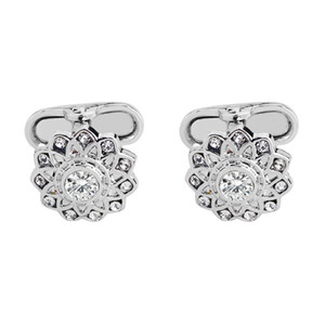 Pave Crystal Flower Cufflinks gifts for Wedding Groomsman Suit Sleeve button
