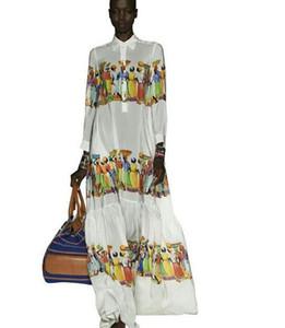 2019 Europe and America show models new print temperament Slim big swing seaside holiday dress High cold fan dress