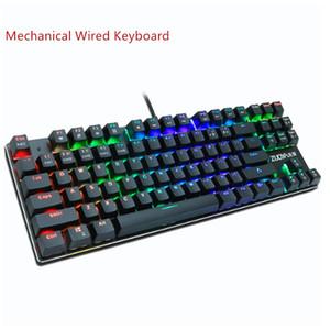 Teclado para juegos mecánicos Interruptor Rojo Azul 87key teclado estadounidense Wired anti-ghosting USB RGB / mezcla con retroiluminación LED para el ordenador portátil PC Gamer
