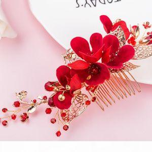 beijia Handmade Red Flower Hair Comb Wedding Prom Hair Accessories Gold Leaf Bridal Combs Headwear Women Jewelry