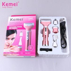 Kemei 4en1 Kit de señora Shaver Depiladora nariz Barba recortador de eliminación de hoja de acero inoxidable de las mujeres de afeitar del pelo del cuerpo de la máquina KM-6637