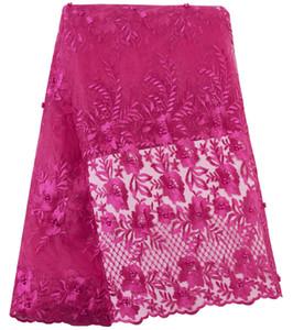 Tela de encaje francés fucsia Tela de encaje africano con cuentas Tela bordada de encaje de alta calidad para vestidos de fiesta de noche nigerianos