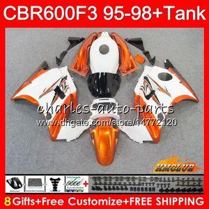 화이트, 오렌지 HONDA CBR600FS CBR 600F3 1,995 1,996 1,997 1,998 600 41HC.53 CBR FS 600cc의 CBR600 F3 F3 CBR600F3 95 96 97 98 바람막이 바디 + 탱크