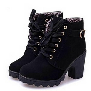 Ankle boots women 2019 new elegant square heel shoes woman high heel solid color vintage women boots lace-up women shoes T200104