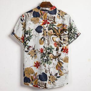 À manches courtes d'été hommes occasionnels en vrac Linen Rétro Chemises Tops T-shirt