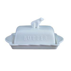 Plato de mantequilla de cerámica Soporte del recipiente Superior Mantequilla Queso Platos Servidor Bandeja de guardas Fácil de sostener Tapa