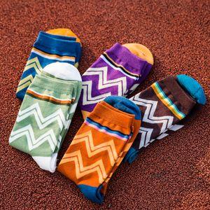Man cotton crew socks Winter Thick Warm wavy striped casual harajuku designer brand fashion novelty art funny EUR39-44