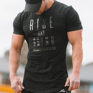 New design Men Sport Shirt letter GYM T Shirt Men Quick Dry Fit Running T Shirt Short Sleeve Fitness Solid Workout Top Tees