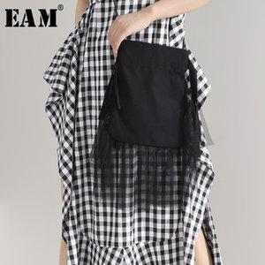 [EAM] Women New Black Mesh Stitch Drawstring Personality Accessories Fashion Tide All-match Spring Summer 2020 1U95001