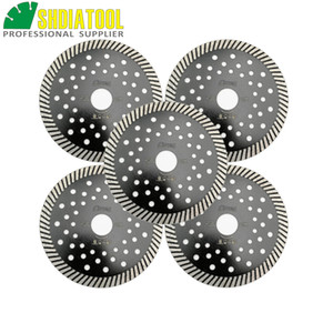 SHDIATOOL 5pcs Dia 5inch 125MM Diamond Cutting Disc Wet and Dry multi holes Diamond Turbo Cutting Blades Marble Saw Blade for granite