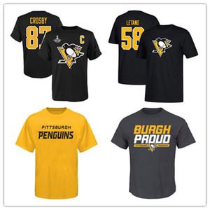 # 58 Kris Letang Pittsburgh Penguins dos homens negros camisetas 87 # Sidney Crosby Yellow Camisas finas de manga ao ar livre Sport camisa impressa Logos