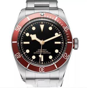Мужские часы с автоматическим механизмом из нержавеющей стали Механический красный ободок Черный циферблат ROTOR MONTRES Твердые застежки Женева Часы 2019