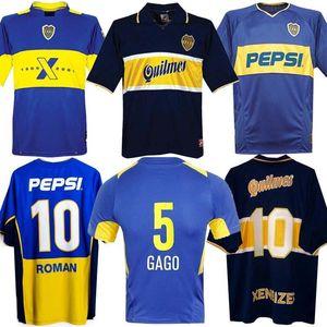 97 98 Бока Хуниорс ретро футбол Джерси Maradona РОМАН Caniggia 1997 96 2002 03 PALERMO маек Майо Camiseta де Futbol 2005 2001