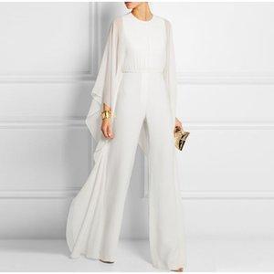 봄 여름 여 쉬폰 여성 플러스 사이즈의 긴 소매 O 목 장난 여자는 2020 년 뜨거운 솔리드 레저 패션 Jumpsuits T200420