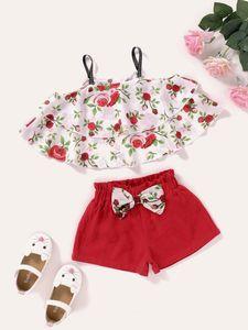 ins kids designer clothes Girls Clothing Sets Summer Heart Printed T Shirt+Short Pants Kids Children's Clothing Suits Cotton