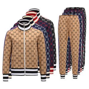2019 nuovo progettista Mens Tracksuirt marca tuta giacche e pantaloni Sport felpata casuale giacca Autunno uomo cerniera e pantaloni M-3XL
