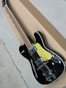 Semi-hueco negro guitarra eléctrica con diapasón de caoba, oro protector, herrajes cromados, de alta calidad y un servicio personalizado