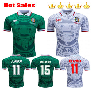 1998 Mexico Retro Cup Classic Vintage Soccer jerseys HERNANDEZ 11# BLANCO H.SANCHEZ Ramirez Home Green Away White Football Shirts