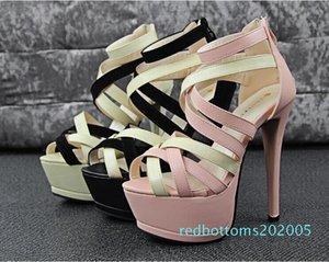 Оптовая продажа-2015 новая мода Женщины золото серебро крест ремни высокий плоский каблук колено высокие гладиаторские сандалии novos moda sandalia gladiadora r05